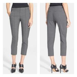 Vince Pintuck Seam Side Tab Crop Pants Gray 10